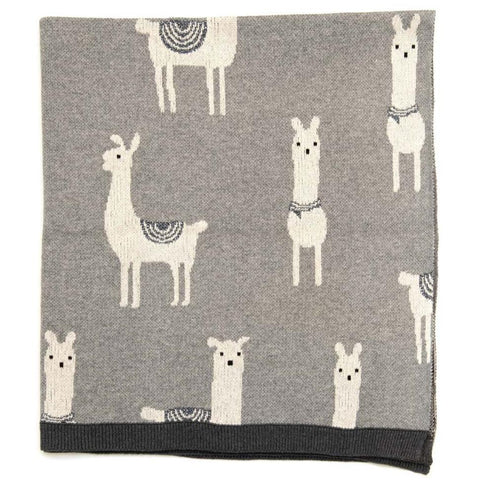 Logan Llama Cotton Knit Baby Blanket