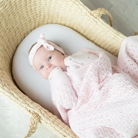 Lattice Pink Cotton Baby Shawl Living Textiles Baby Blanket