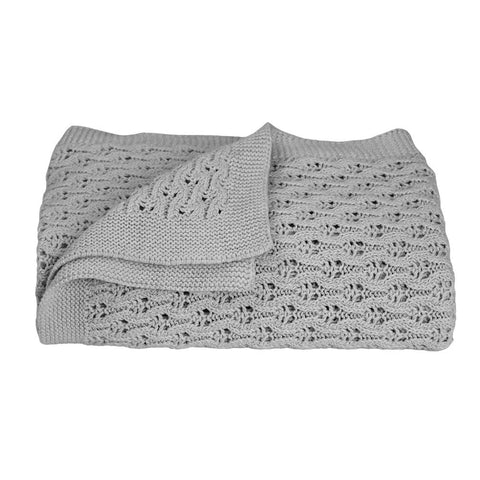 Lattice Grey Cotton Baby Shawl Living Textiles Baby Blanket