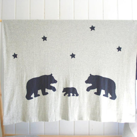 Alimrose Knit Bear & Star Cot Baby Blanket Reversible Nursery Blanket