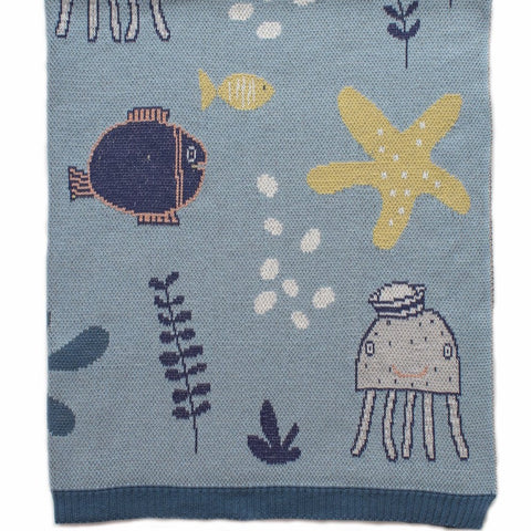 Boys Under The Sea  Cotton Knit Baby Blanket Indus Design