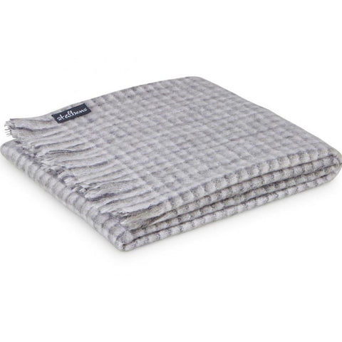 Cobweb Grey Check Mohair Throw Rug