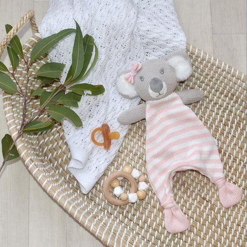 Chloe Koala Cotton Knit Baby Soother Security Blanket