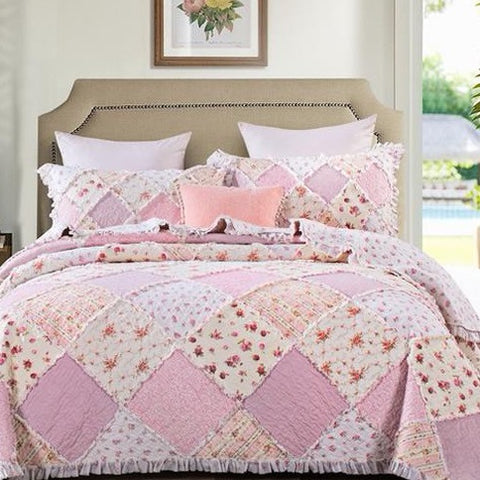 Pink Floral Patchwork Rose Ruffle Quilted Coverlet Bedcover Set Available in 4 Sizes