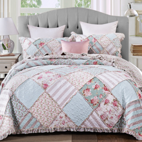 Blue Floral Shabby Chic Country Charm Rose Ruffle Quilted Coverlet Bedcover Set Available in 4 Sizes