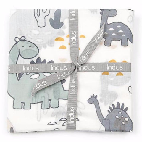 Indus Design Dino Dinosaur Muslin Cotton Swaddle Wrap