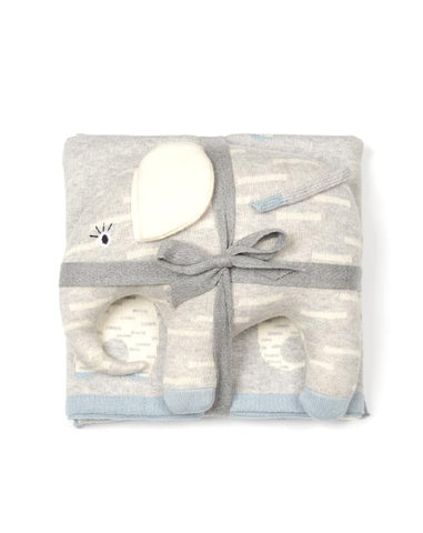 Blue Elephant Baby Blue Blanket & Toy 2 piece Gift Set