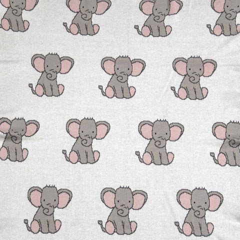 Baby Girls Pink Elephant Cotton Knit Gift Boxed Baby Blanket