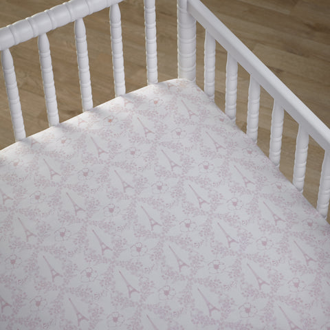 Love in Paris Pink Girls Fitted Cot Sheet