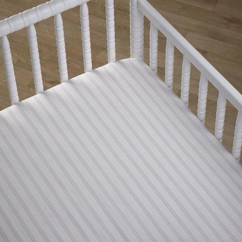 Kids Nursery Fitted Striped Cot Sheet in Petal Pink