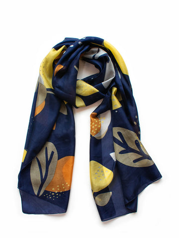 Abstract Floral Silk Scarf  Indigo / Caramel