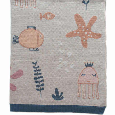 Girls Under The Sea  Cotton Knit Baby Blanket Indus Design