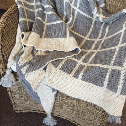Indus Design Tassel Check Throw in Grey / Natural