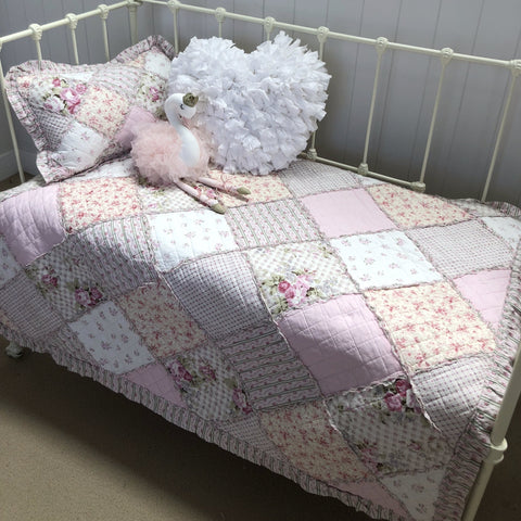 Tara Floral Patchwork Cot Quilt and Decorator Cushion Set