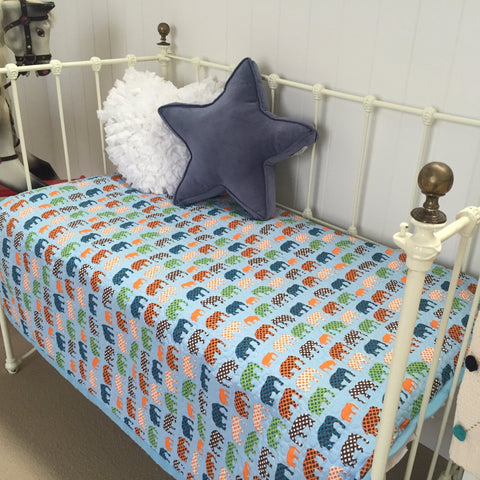 Blue Elephant Linens N Things Cot Quilt Sale