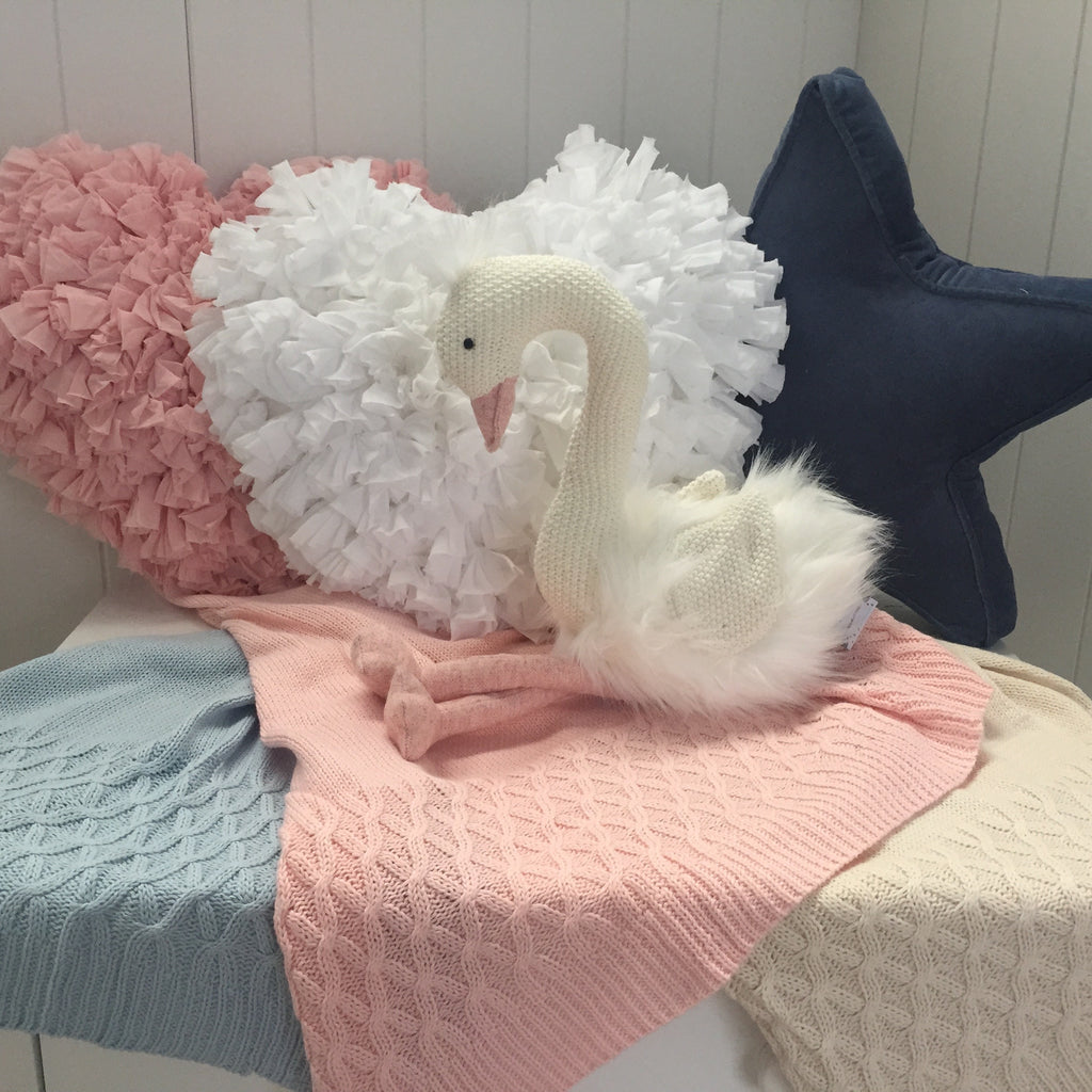 Baby Blankets Soft Cotton Knit Sale In Blue Pink Or