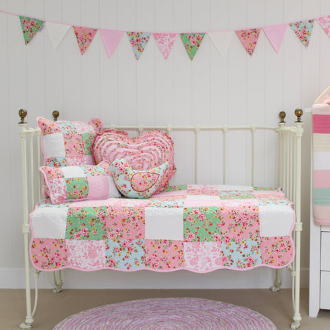 Alice Cot Quilt Crib Bedding with bonus Heart Shaped Cushion