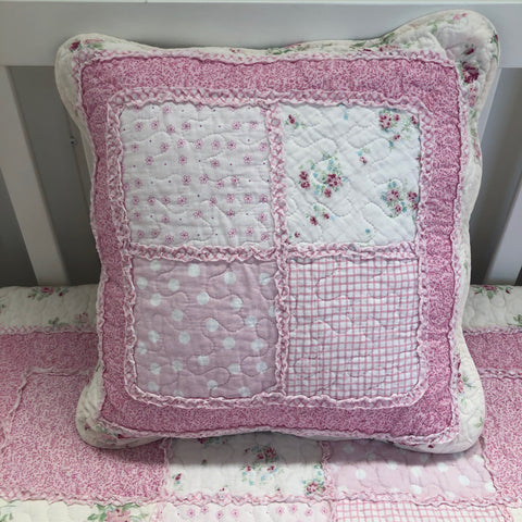 Mia Square Shabby Chic Pink Floral Cushion Cover