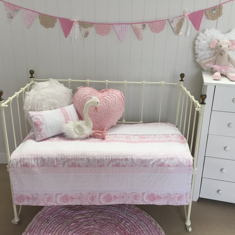 Juliet Pink Cot Quilt Nursery Bed Linen Bedding