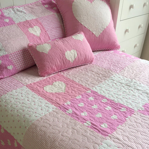 Lucy Girls Pink Patchwork Single Coverlet Bedcover Set Sale