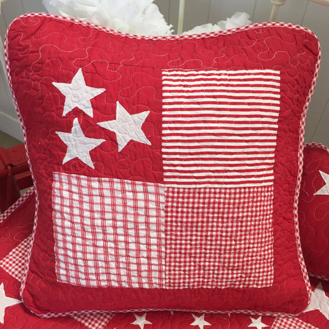 Lachlan Cotton Square Cushion Cover in Red