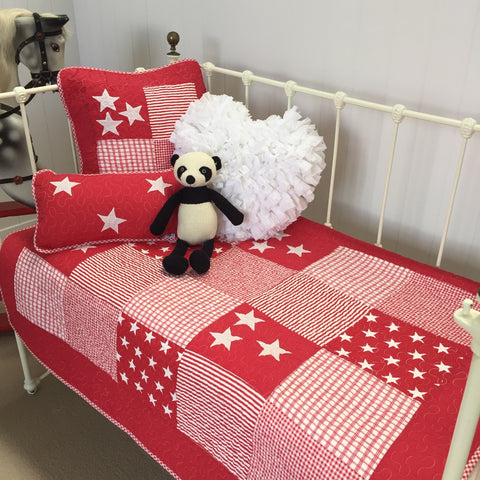 Lachlan Cotton Cot Quilt in Red