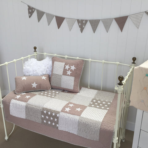 Lachlan Cot Quilt Nursery Coverlet in Natural