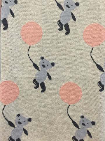 Teddy & Balloon Nursery Pram Baby Blanket