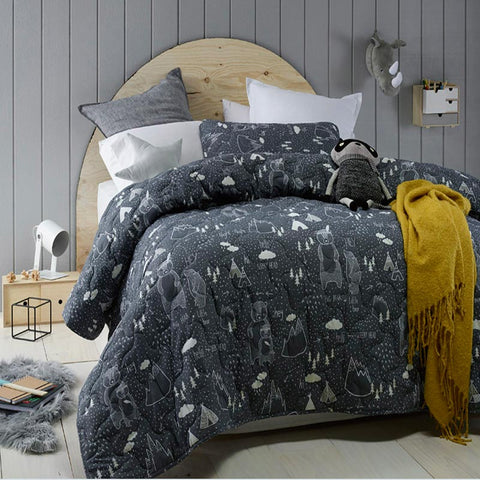In The Woods King Single / Double Comforter Quilted Bedcover Set