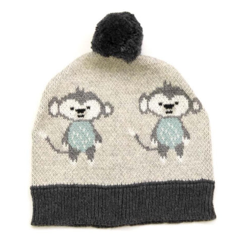 Jungle Monkey Cotton Knit Baby Hat Beanie