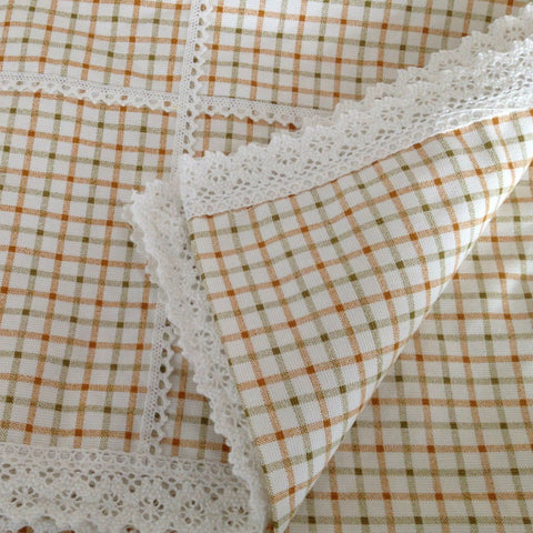 Gold Check Lace Trim Table Cloth