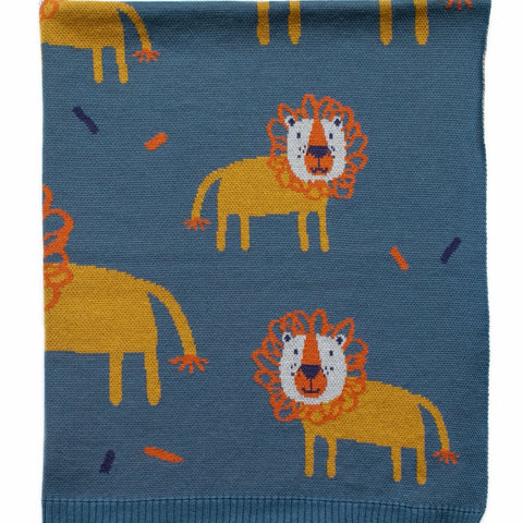 Leroy Lion Baby Blanket Cotton Gift Boxed