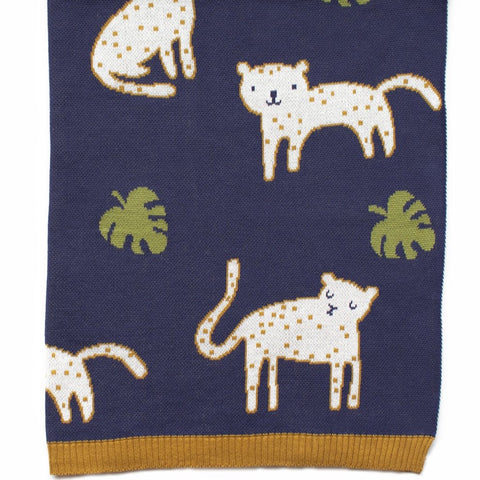 Leopold Leopard Cotton Knit Baby Blanket Indus Design