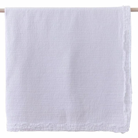 Maple Cotton Quilted Shabby Chic Throw Rug in White