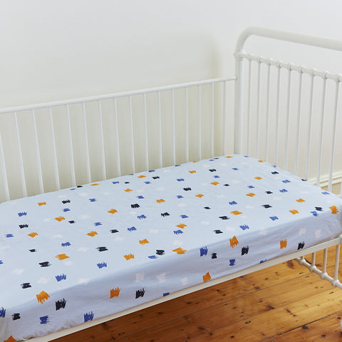 Monsters Cotton Fitted Cot Sheet in Blue