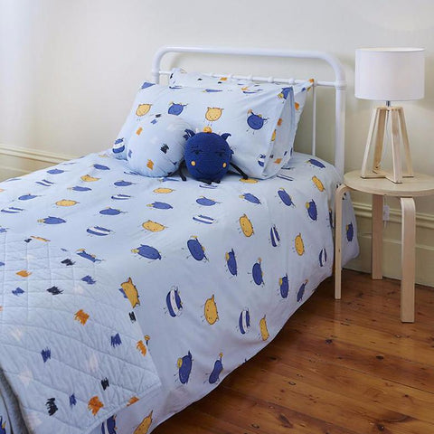 Monsters Kids Blue Quilt Cover Set