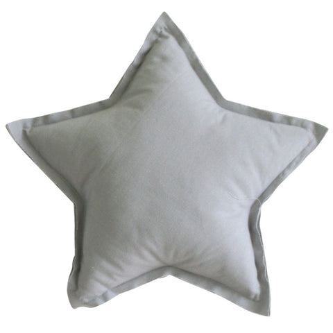 Grey Linen Star Pillow Decorator Cushion
