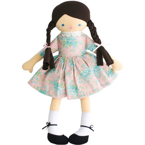 Beth 40cm Pink Floral Doll with long Brown Plaits