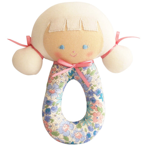 Audrey Grab Rattle Liberty Blue  Floral Newborn Baby Shower Gift Idea