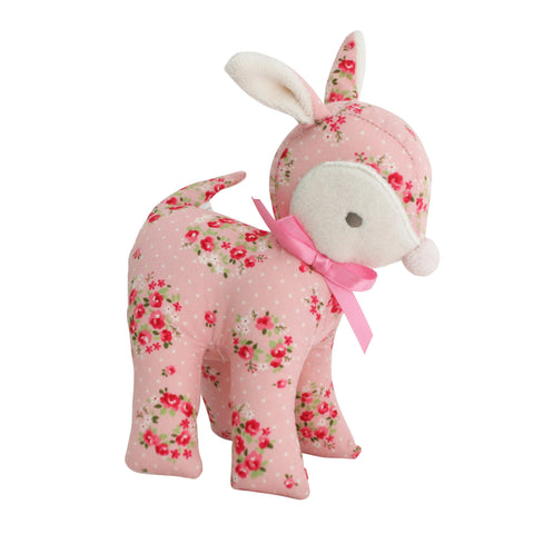 Baby Deer Pink Floral Baby Rattle