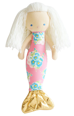 Large Pink Floral  Mermaid Doll