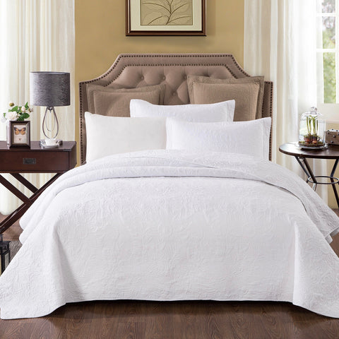 Pure White Quilted Coverlet Bedcover Set with straight edge Available in 4 Sizes