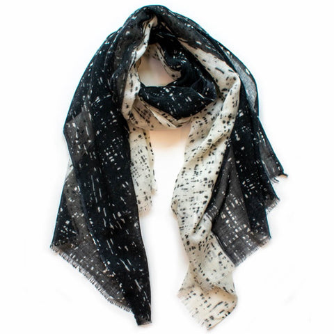 Scratch Black & Natural Wool Scarf