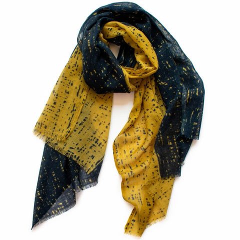 Scratch Navy & Mustard Wool Scarf