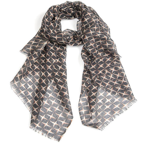Star Wool Scarf  Black / Natural