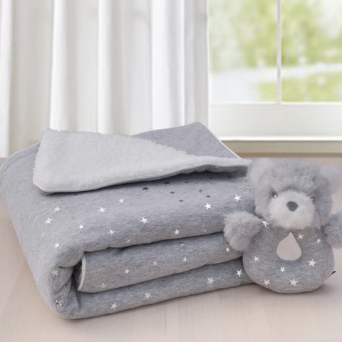 Silver Stars Sherpa Blanket & Matching Rattle Baby Shower Gift Idea