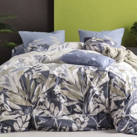 KAS Aleena Ink Foliage Queen Size Quilt Cover Set