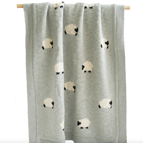 Baa Baa Grey Lamb Organic Cotton Baby Blanket