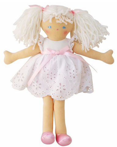 Alimrose Bella 25cm Doll with a pretty White Broderie Dress