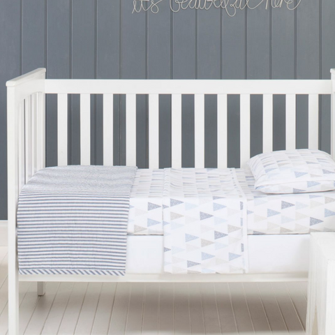 Cameron Cotton Quilted Cot Coverlet Blanket in Blue & White Ticking Stipe